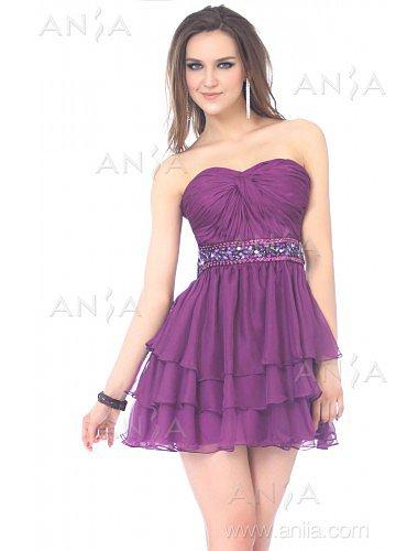 A Line Grape Sweetheart Chiffon Party Dress E22419