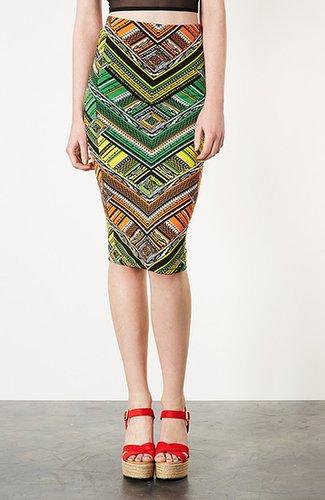 Topshop Geometric Print Tube Skirt