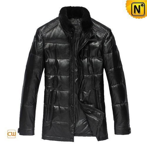 Designer Leather Down Fill Jacket CW833608 - cwmalls.com