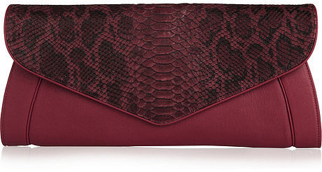 See by Chloé Anna leather and python-effect clutch