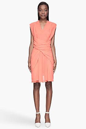 SEE BY CHLOE Coral pink semi-sheer Wrap Around Dress