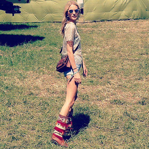 Poppy Delevingne's Glastonbury looks definitely topped our favorites list — check out those boots! Source: Instagram user poppydelevingne