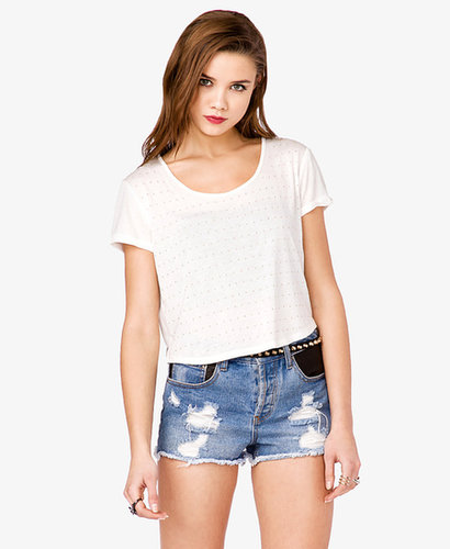FOREVER 21 Studded Cropped Tee
