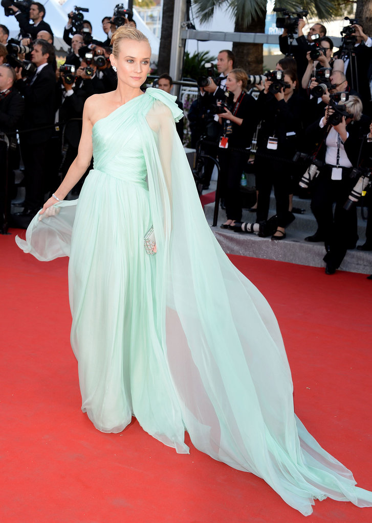 Kruger wore another Couture gown — this time from Giambattista Valli — at the 2012 Cannes Film Festival premiere of Moonrise Kingdom. Its gentle pale green colour and floaty fabric made for more than one spectacular photograph.