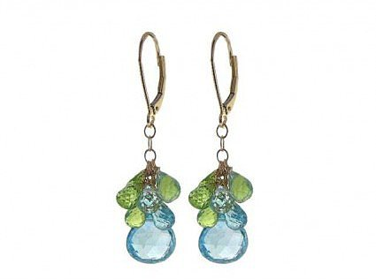 pristine (PR) 14K Yellow Gold 20.00 Carat Blue Topaz and 9.00 Carats Peridot Chandelier 1.25 Inch Earrings