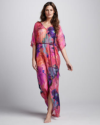 Matthew Williamson Rope-Waist Printed Maxi Coverup