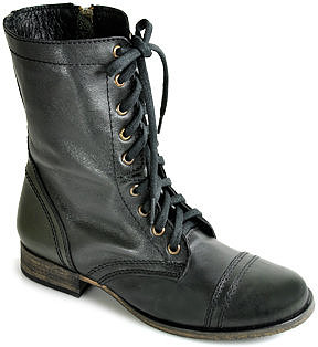 Steve Madden - Troopa -  Combat Boot in Black Leather