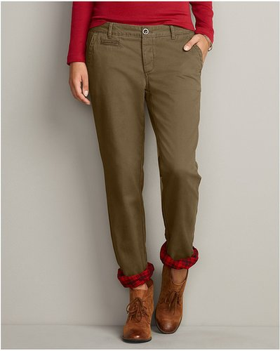 Boyfriend Legend Wash Flannel-Lined Chinos