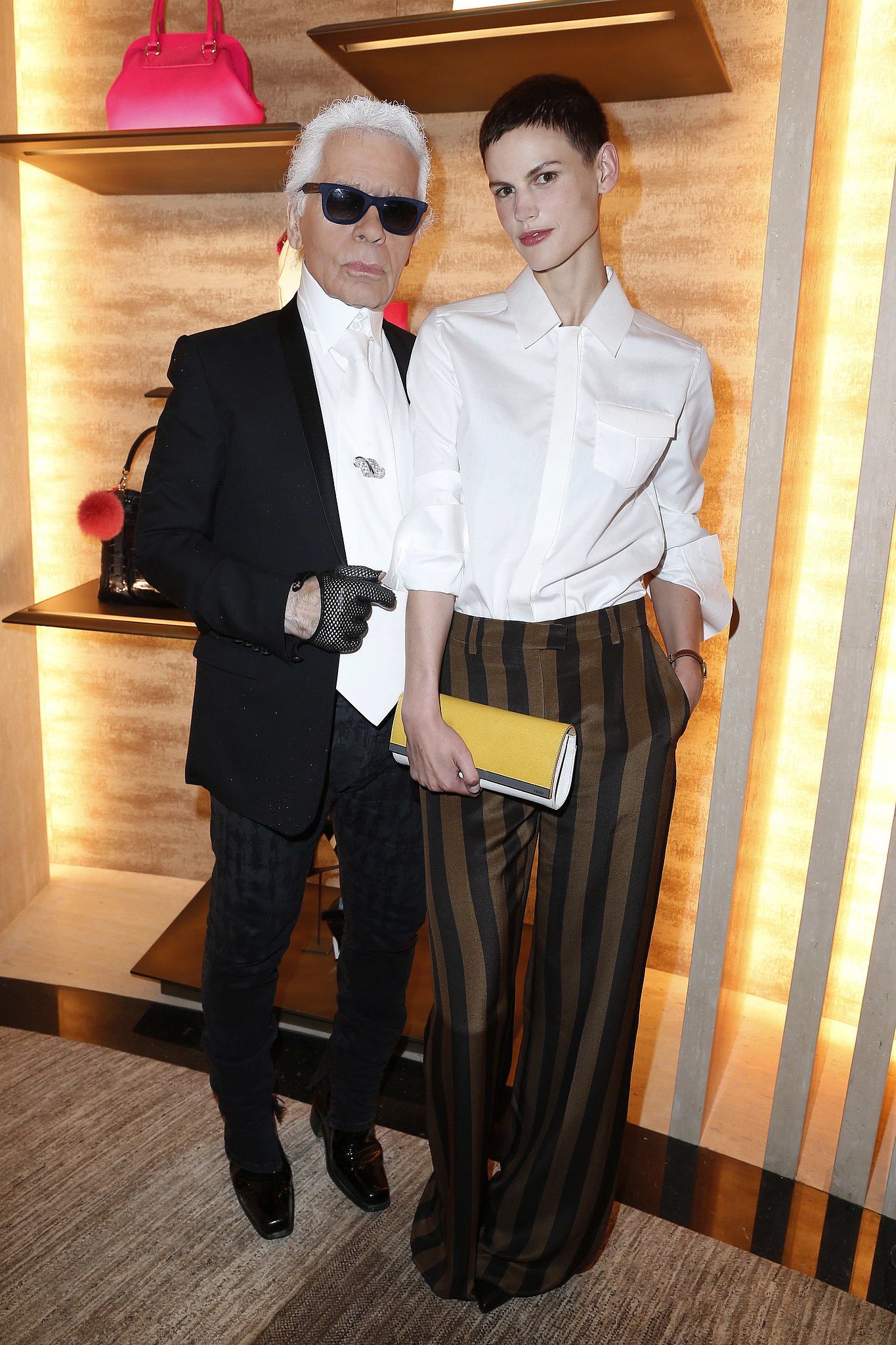 The man of the hour, Karl Lagerfeld, shared the spotlight with Saskia de Brauw at Fendi's Paris bash. Source: