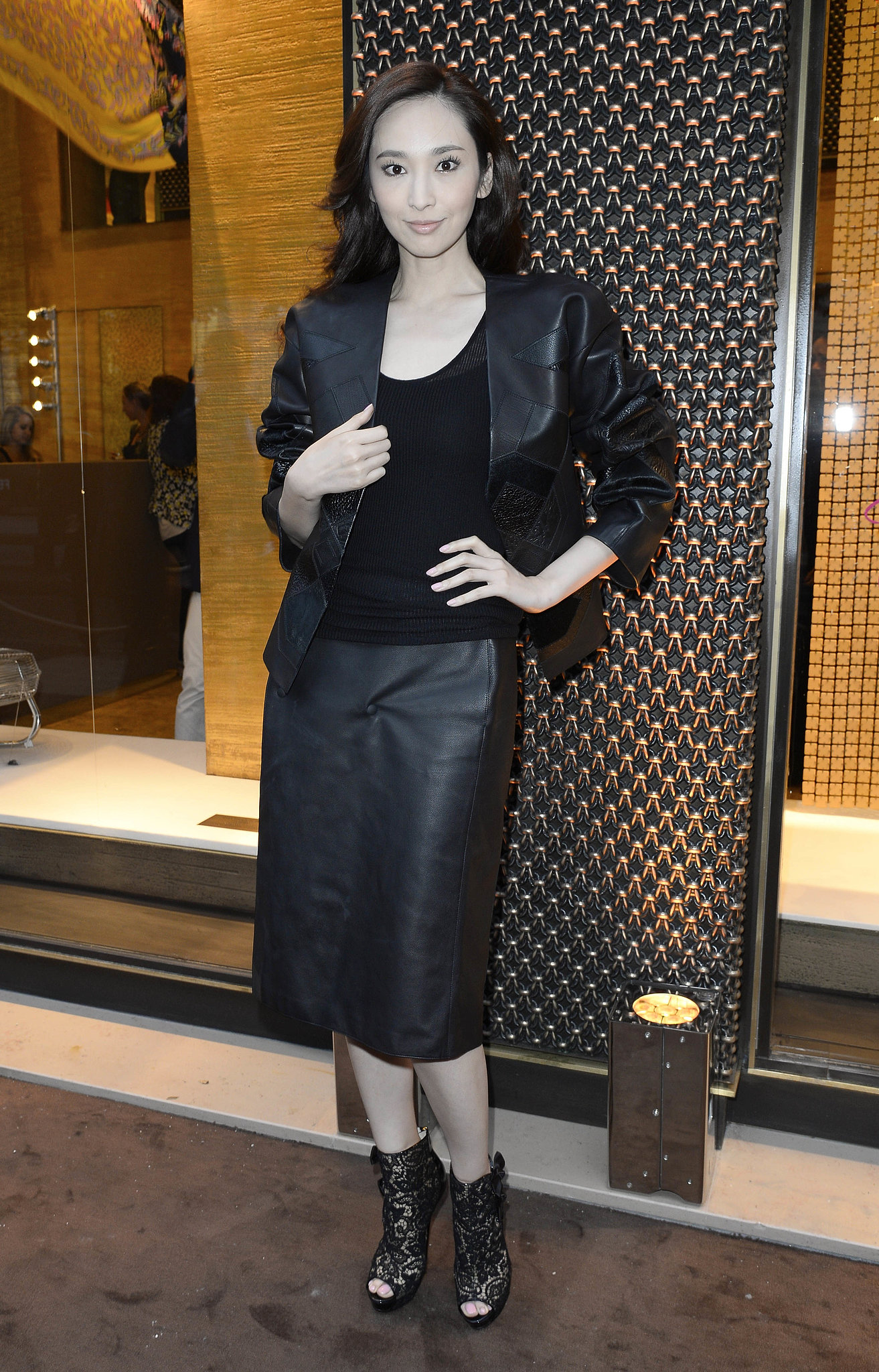 Pace Wu was clad in leather for Loewe's Paris cocktail party. Source: Loewe