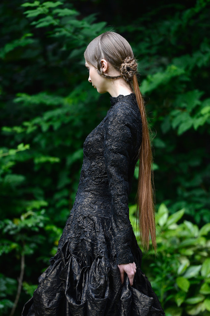 Franck Sorbier's intricate updos were rivaled only by the handwork in the collection's designs.