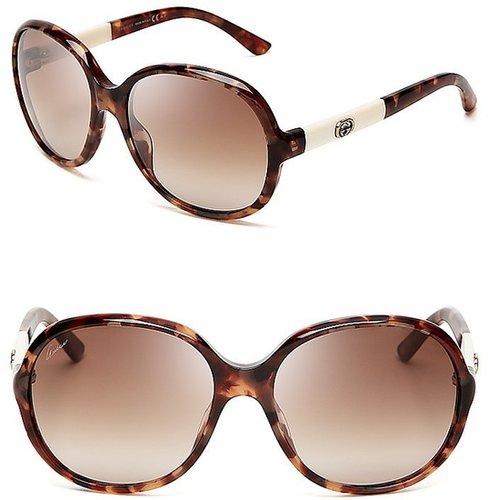 Gucci Round Oversized Tonal Temple Sunglasses