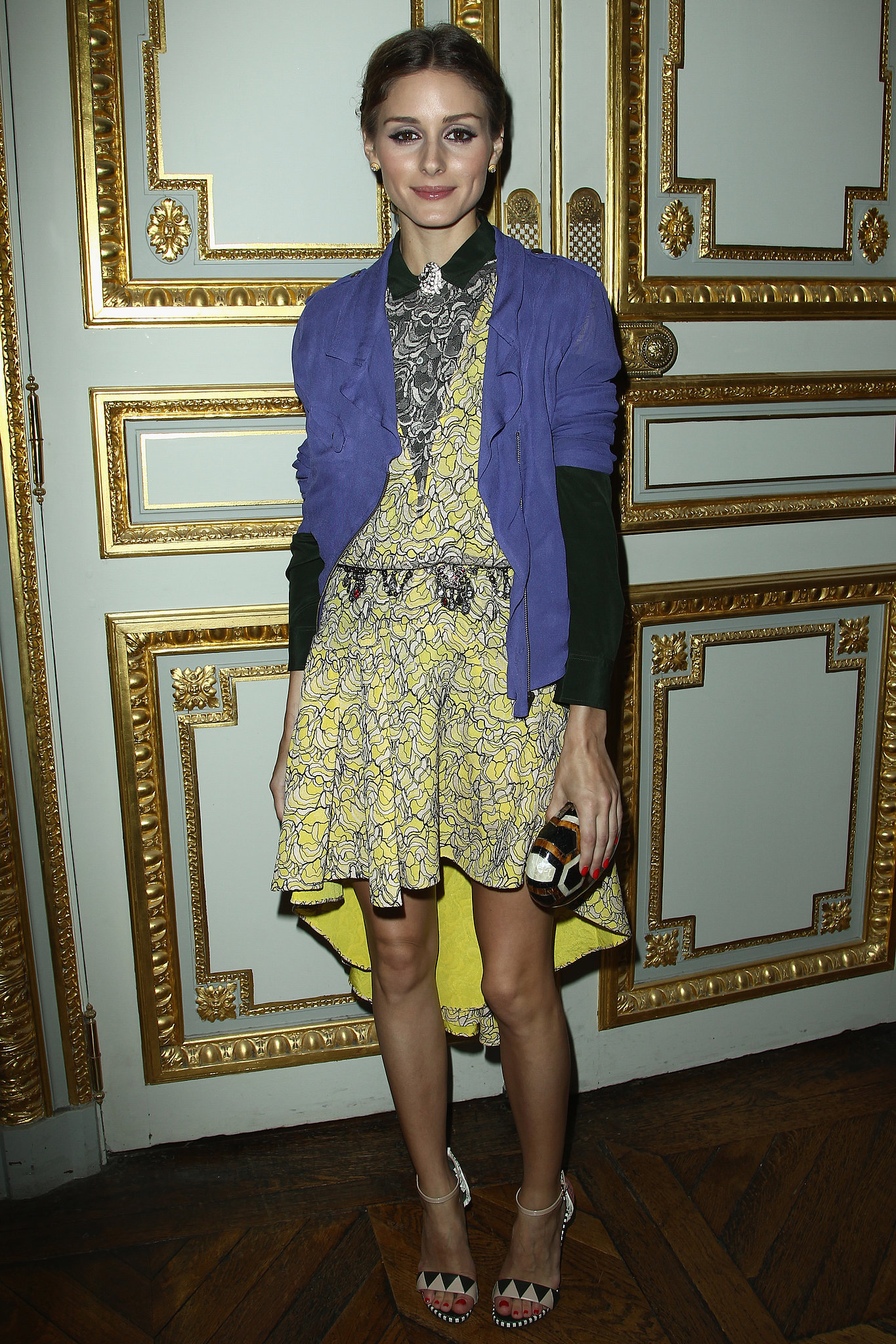 Olivia Palermo mixed purple with yellow like a pro at a cellphone launch party in Paris.