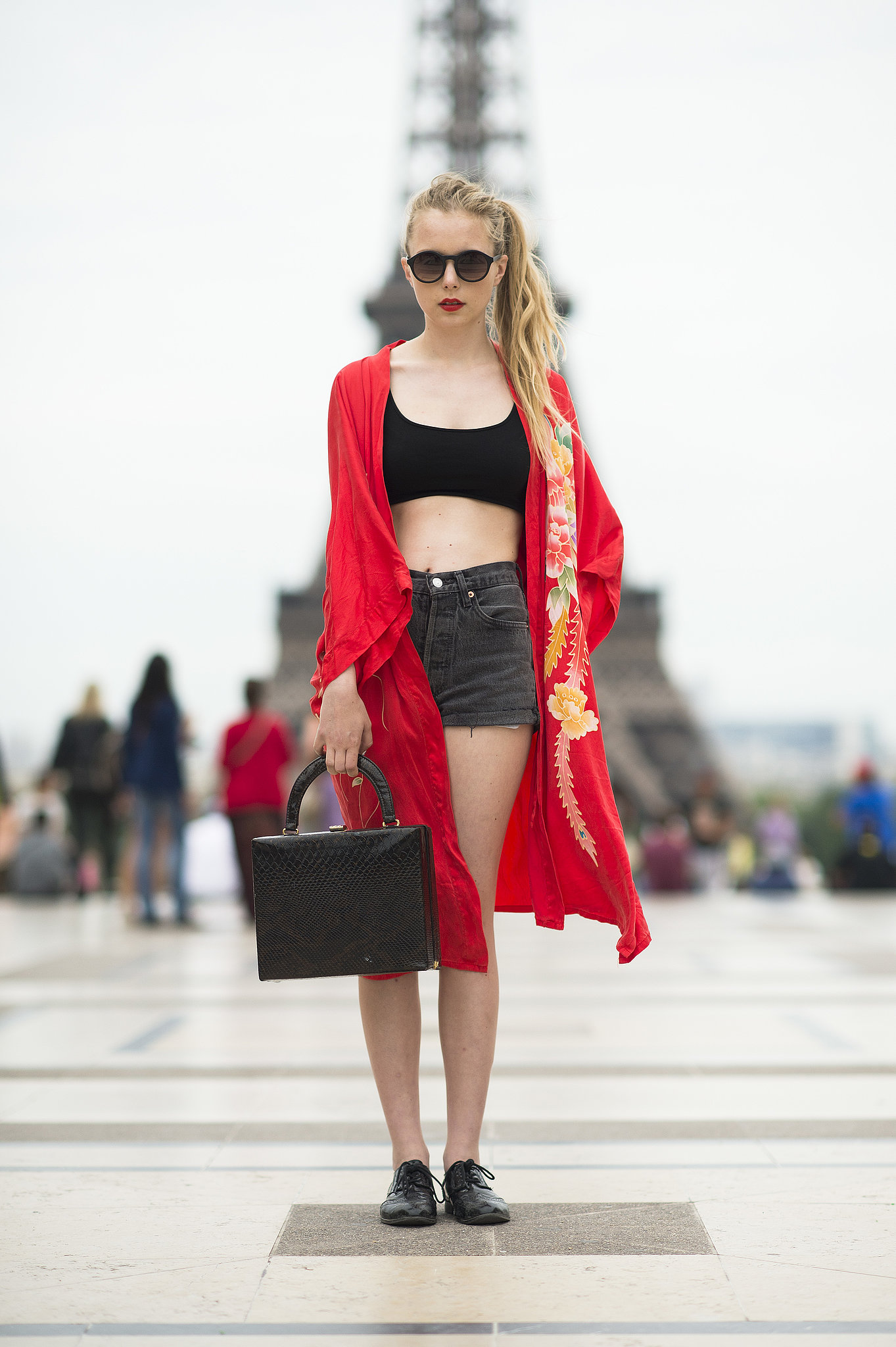 A silky red robe added some extra coverage to a shorts-and-bra-top look. Source: Le 21ème | Adam Katz Sinding