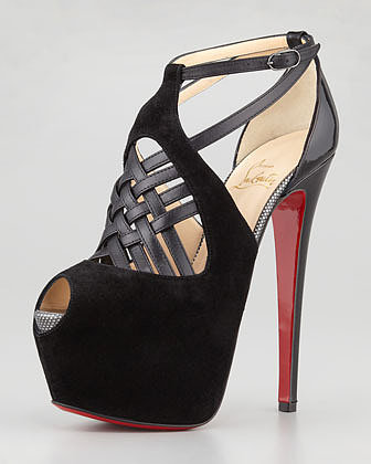 Christian Louboutin Carlota Strappy Red Sole Platform Pump, Black