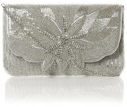 DUNE Flower Beaded Clutch Bag