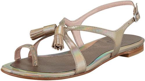 Stuart Weitzman Flapper Holographic Leather Sandal, Steel
