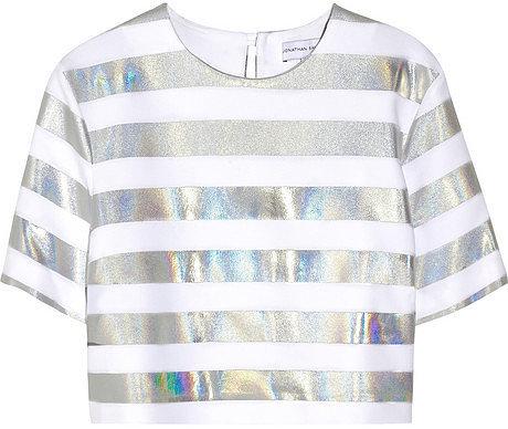 Jonathan Saunders Bibbi holographic striped crepe top