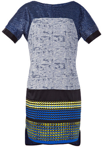 Preorder Prabal Gurung Light Blue Metallic Tweed Combo T-Shirt Dress