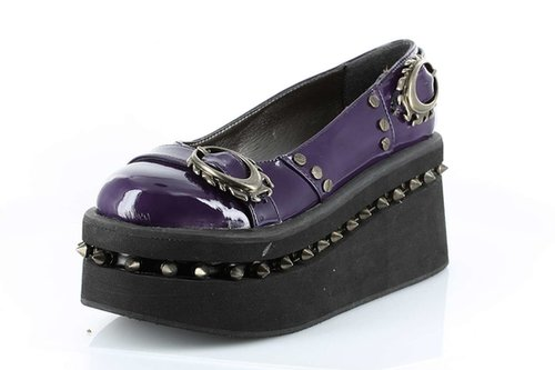 "Hades Shoes H-Nautilus, 2"" to 3"" Wedge Platform loafer-Satin-Boutique.com"