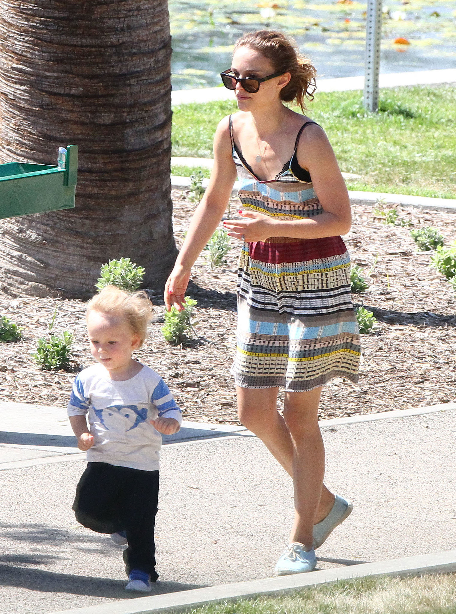 Natalie Portman chased Aleph around the park.