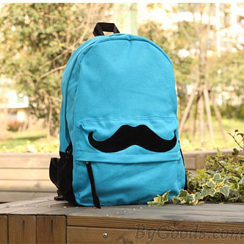 Fashion Cute Mustache Pattern Canvas Backpacks