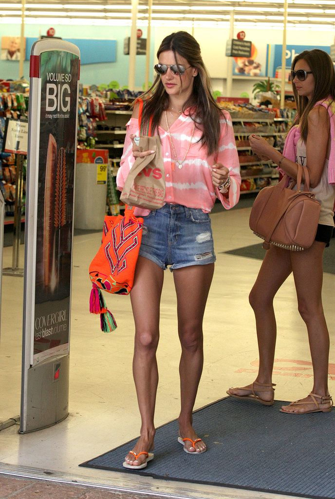 Alessandra Ambrosio paired her denim cut-offs with a boho bag and sunglasses in Malibu recently.