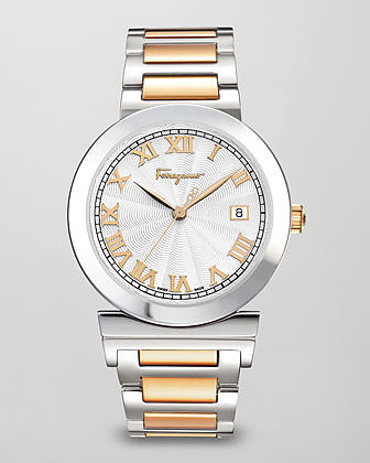 Salvatore Ferragamo Two-Tone Guilloche-Dial Watch