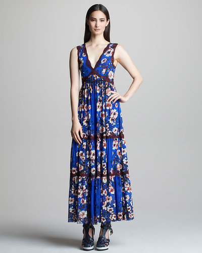Jean Paul Gaultier Floral-Print Tiered Maxi Dress