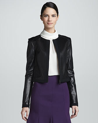 Jason Wu Zip-Front Leather Jacket, Black