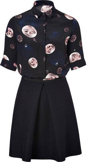 Victoria, Victoria Beckham Silk Printed Shirtdress in Cosmos Pink/Navy