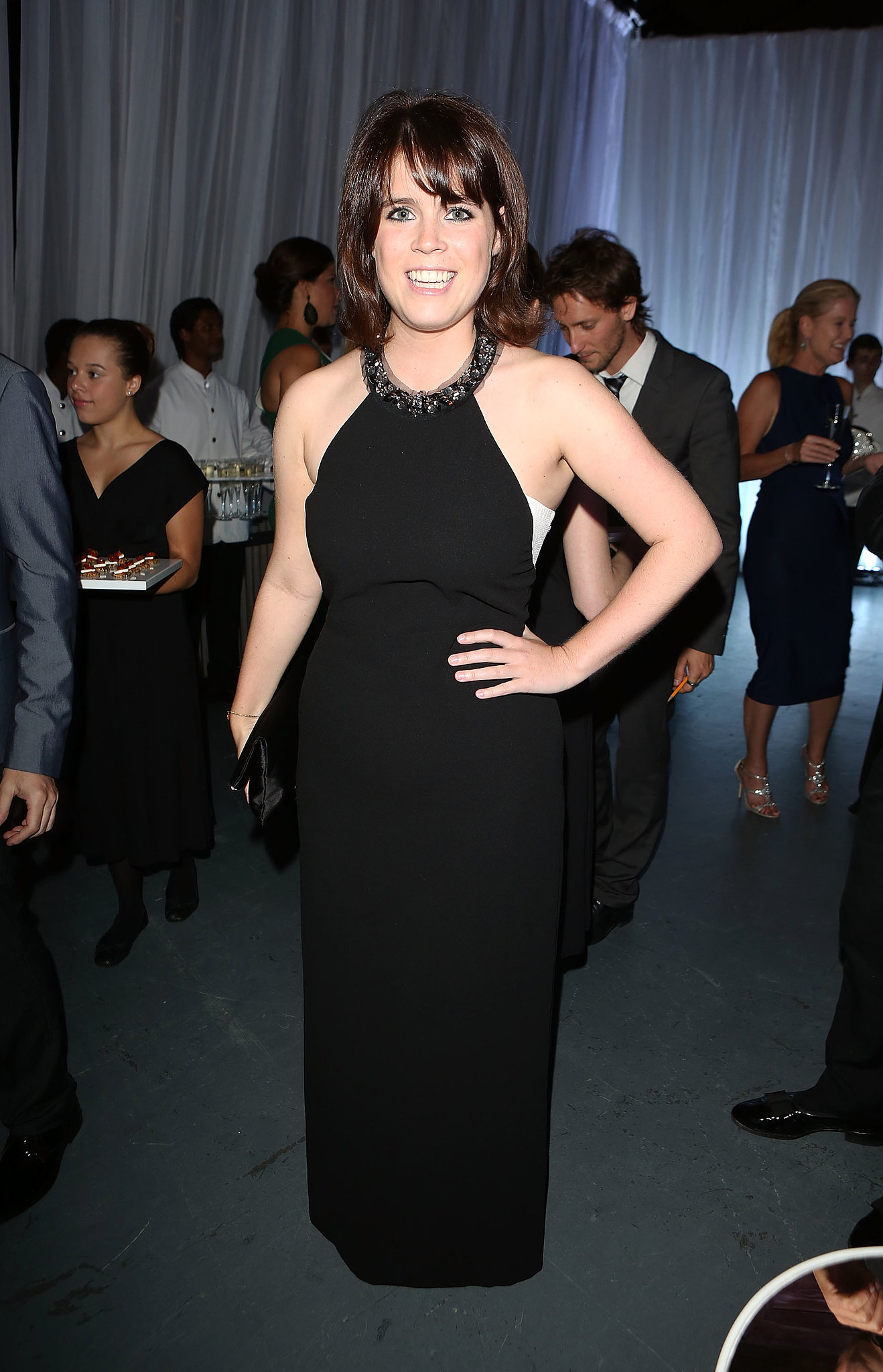 Princess Eugenie bared her arms in a black halter gown at the Novak Djokovic Foundation gala dinner.