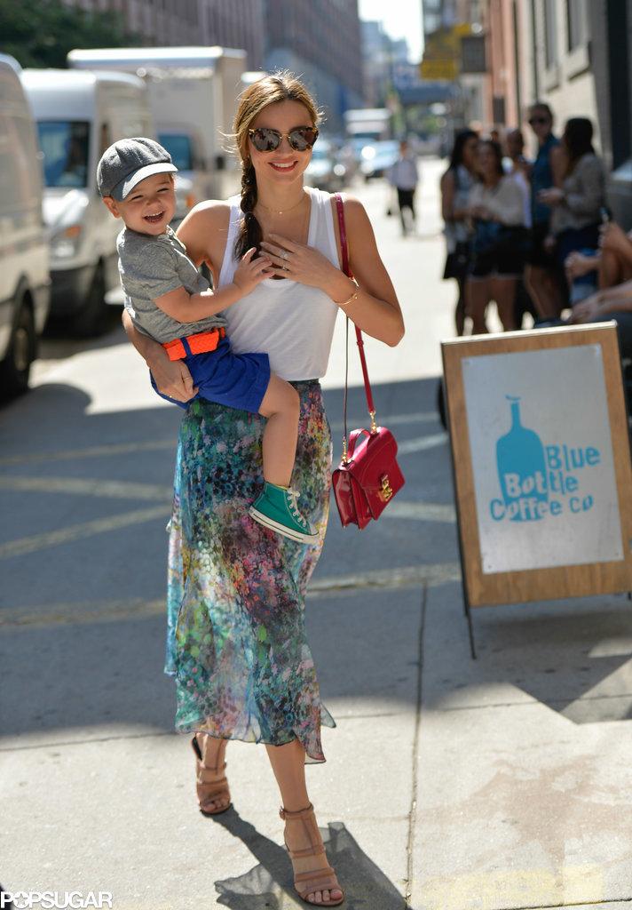 Miranda Kerr carried Flynn while in the Big Apple.