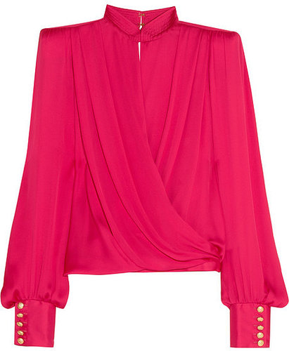 Balmain Silk-satin wrap top