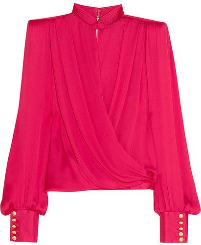 Balmain Silk-satin wrap top