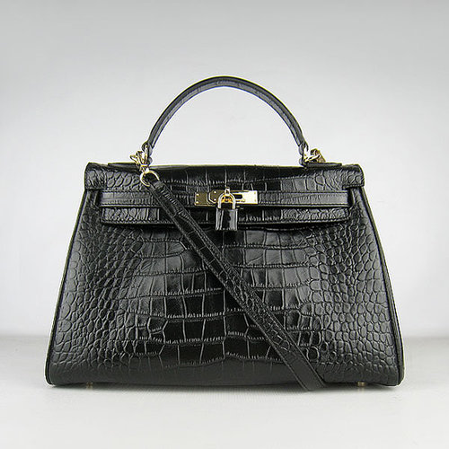 Hermes Kelly 32 Crocodile with Gold Hardware (Black)-versandhermes.com