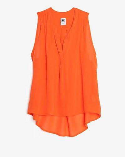 Nsf Exclusive Split Collar Sleeveless Silk Blouse