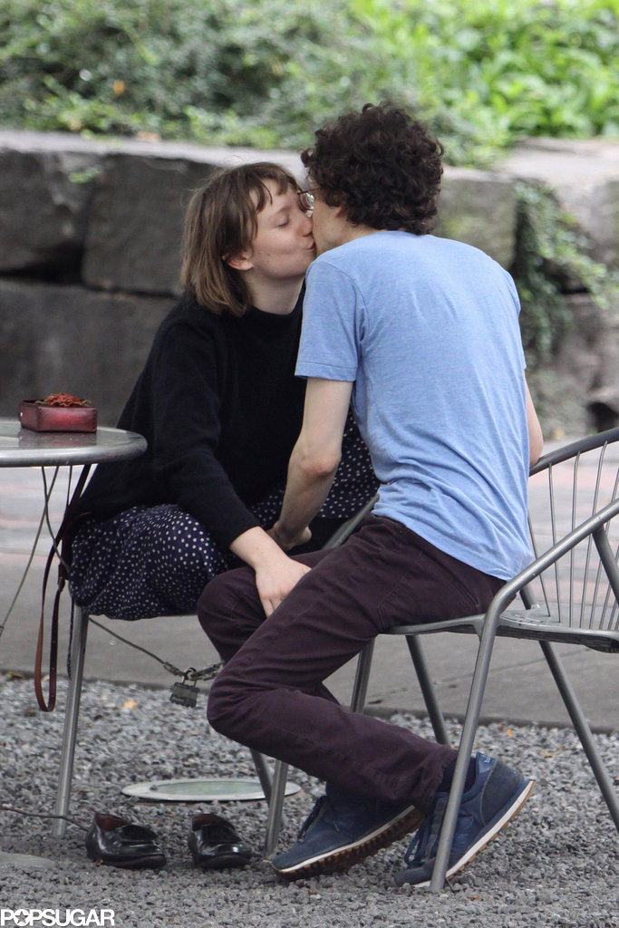 Jesse Eisenberg and Mia Wasikowska kissed in a park.