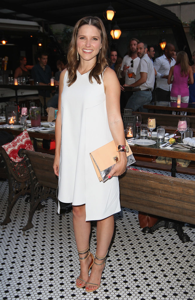Sophia Bush matched a white Sportmax dress with nude accessories at her birthday bash in NYC.