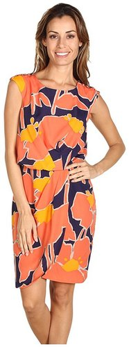 Jessica Simpson - Floral Cap Sleeved Pleated Dress (Orange) - Apparel