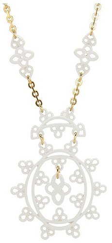 Jessica Simpson - Lacey 16 Enamel Drop Pendant Necklace (White/Gold) - Jewelry