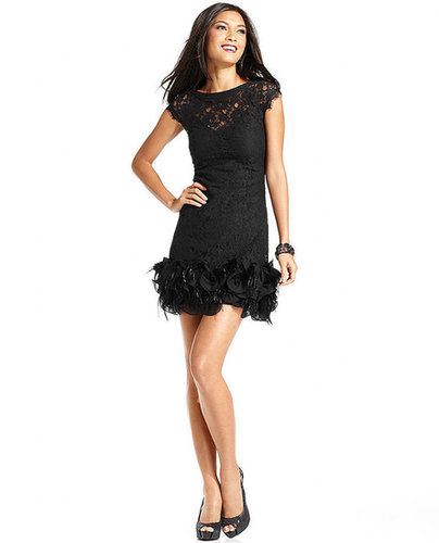 Jessica Simpson Dress, Cap-Sleeve Lace Feather-Hem