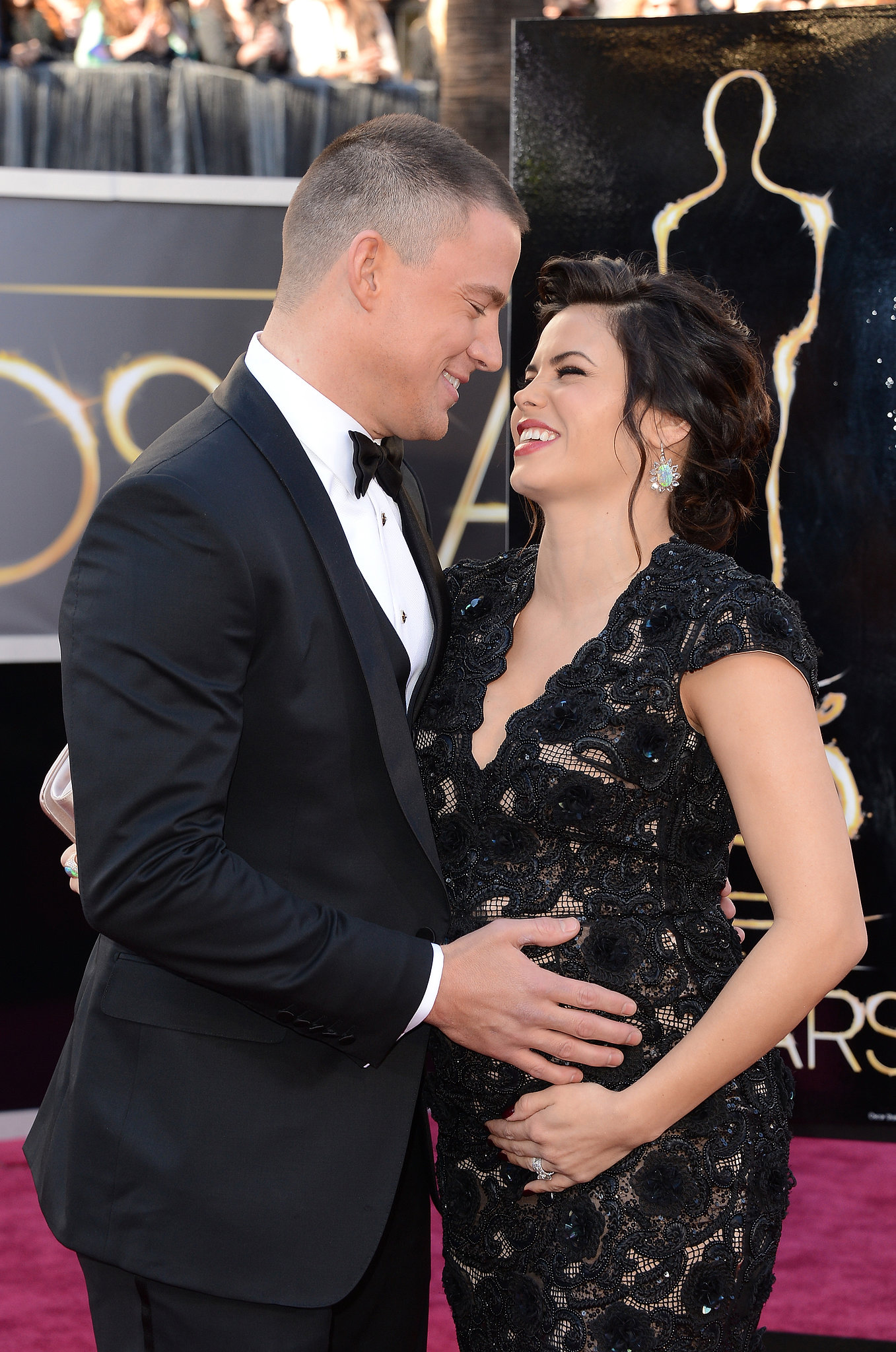 Channing and a pregnant Jenna looked loved up on the red carpet at the Oscars in February 2013.
