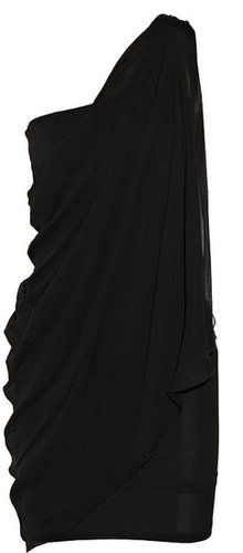 Alice + Olivia Draped jersey and silk-chiffon dress