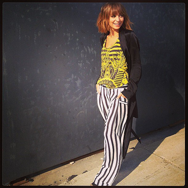 Nicole Richie sported a pair of striped wide-leg pants while shooting a segment for her AOL show, Candidly Nicole. Source: Instagram user nicolerichie