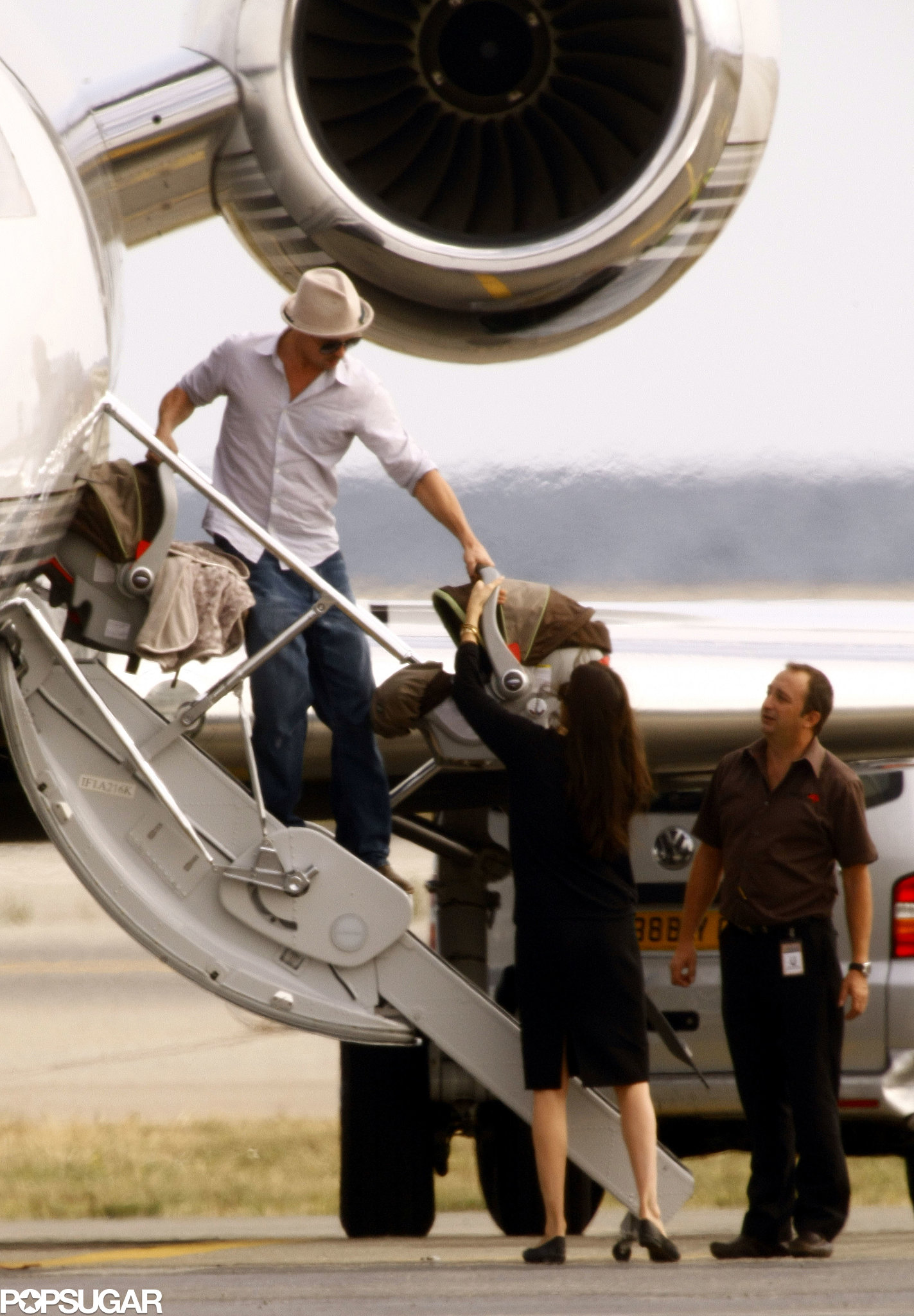 Brad Pitt and Angelina Jolie carefully handled the twins when arriving in Nice in October 2008.