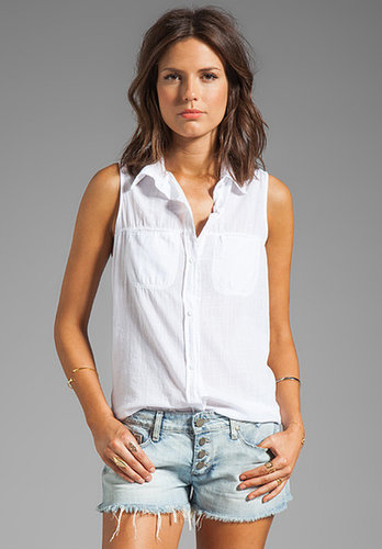 Michael Stars Luxe Slub Sleeveless Collared Button Down