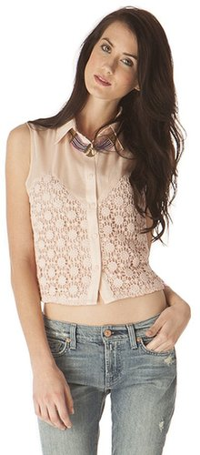 Pink Mascara Crochet Button Top