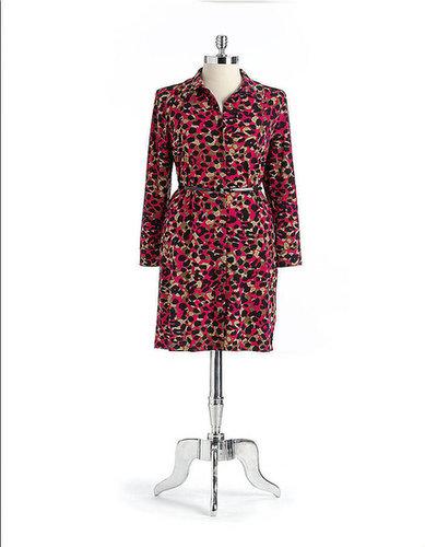 ANNE KLEIN NEW YORK Animal Print Belted Shirtdress