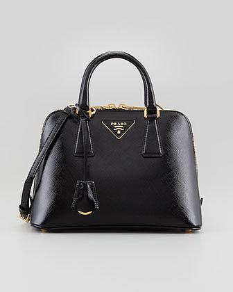 Prada Saffiano Vernice Promenade Crossbody Bag, Black
